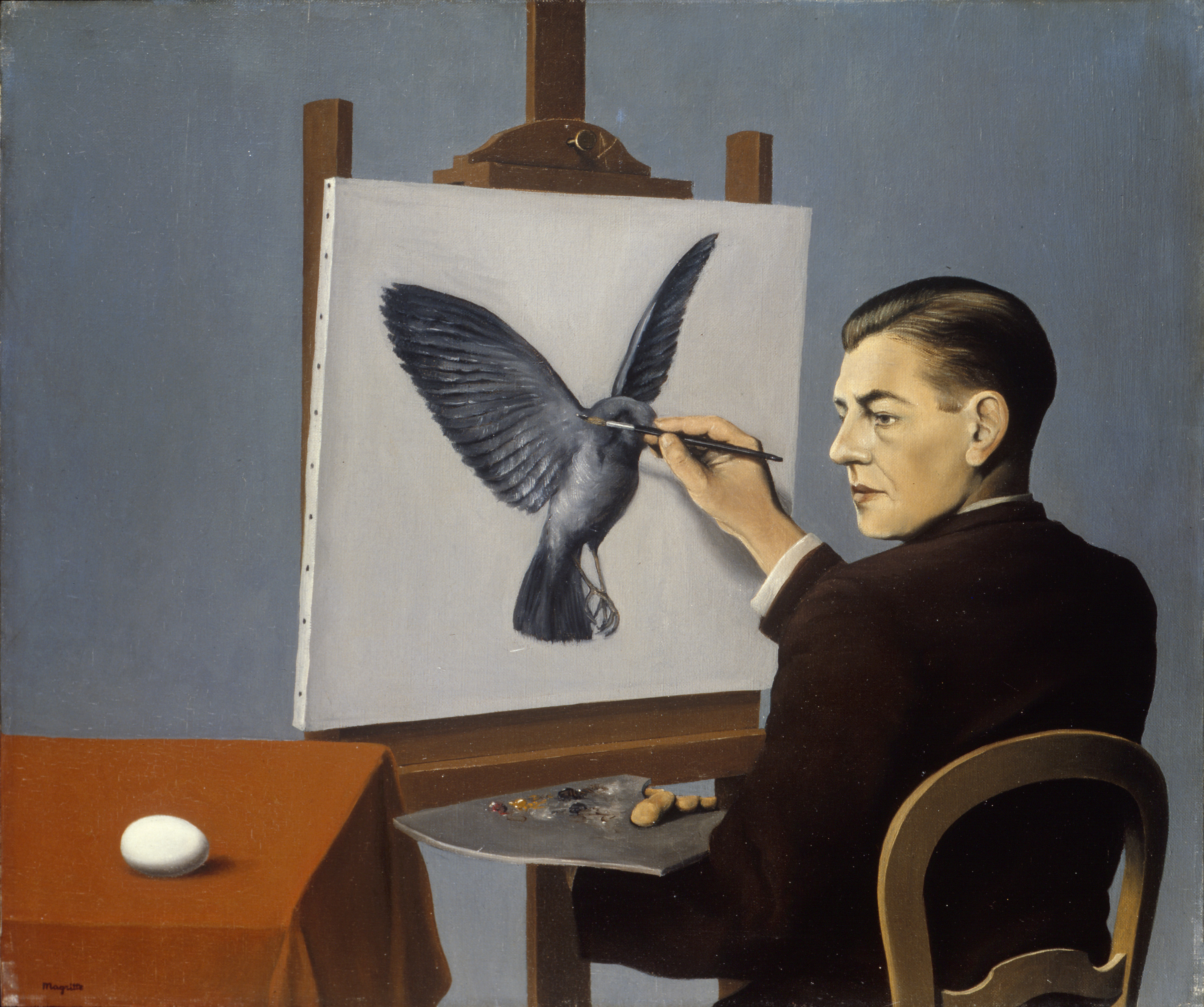 "Image of the Magritte painting, ""Clairvoyance (Self-Portrait)"""